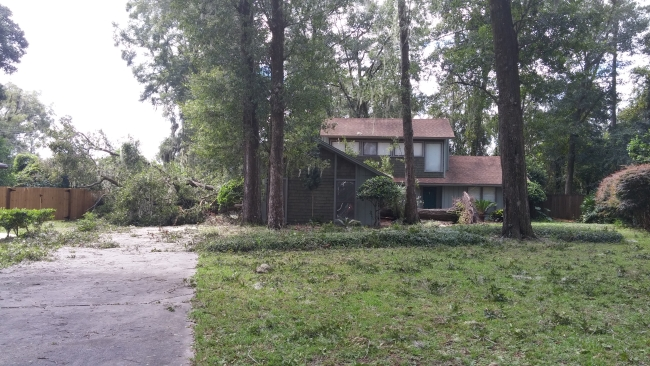 Property damage after hurricane
